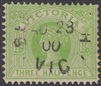 VIC SG 333 1896-99 Three Halfpence apple-green Sands & McDougall design
