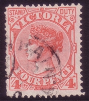 VIC SG 363 1899-1901 four pence rose-red