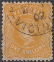 VIC SG 394 1901 One Shilling 1/- Yellow-orange Queen Victoria Australia