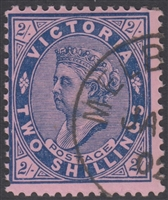 VIC SG 395 ACSC V120x Cancelled To Order CTO OGH 1902 Two Shillings 2s Blue on Rose Queen Victoria Australia