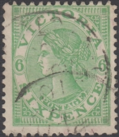 VIC SG 423 1905-13 Six Pence dull green Queen Victoria Australia