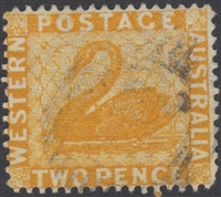 WA SG 71bw 1876-1881 2d chrome yellow. Wmk crown to the right of CC
