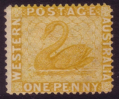 WA SG 76w MNG 1882-1885 1d yellow-ochre. Wmk crown to right of CA