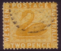 WA SG 77w 1882-1885 2d chrome-yellow. Wmk crown to right of CA