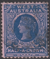 WA SG 125 Western Australia 1902-12 Half Crown 2s6d Deep Blue on Rose Queen Victoria Postage