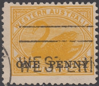 WA SG 172 1912 1d on 2d yellow Western Australia One Penny surcharge on Two Pence swan