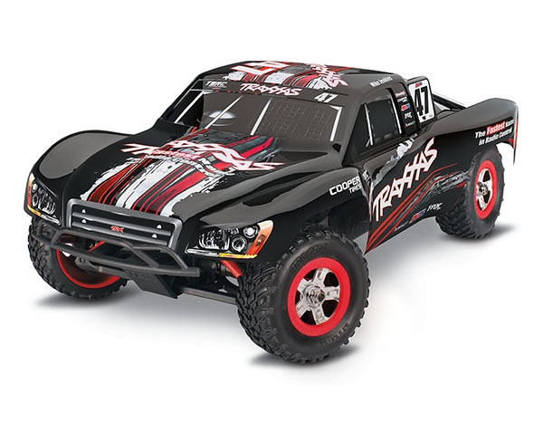 70054-1 - Slash: 1/16 Scale 4WD Electric Short Course Racing Truck. Ready-To-Race® with TQ 2.4GHz radio system, Titan® 550 motor and XL-2.5 ESC. Includes: 6-Cell NiMH 1200mAh Traxxas® battery