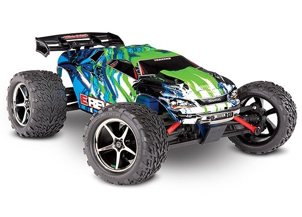 71054-1 - E-Revo®: 1/16 Scale 4WD Electric Racing Monster Truck. Ready-To-Race® with TQ 2.4GHz radio system, Titan® 550 motor and XL-2.5 ESC. Includes: 6-Cell NiMH 1200mAh Traxxas® battery