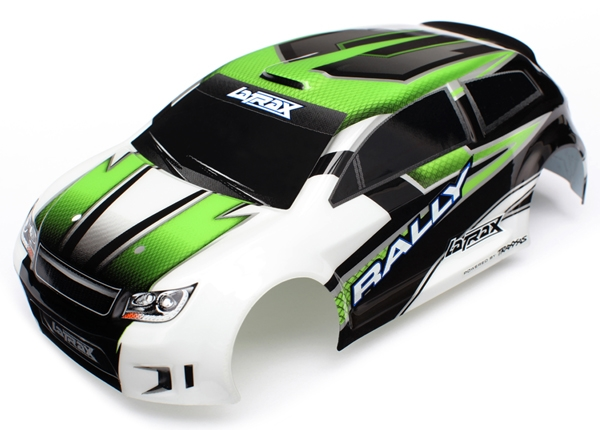 Body, LaTrax 1/18 Rally, green (painted)/ decals