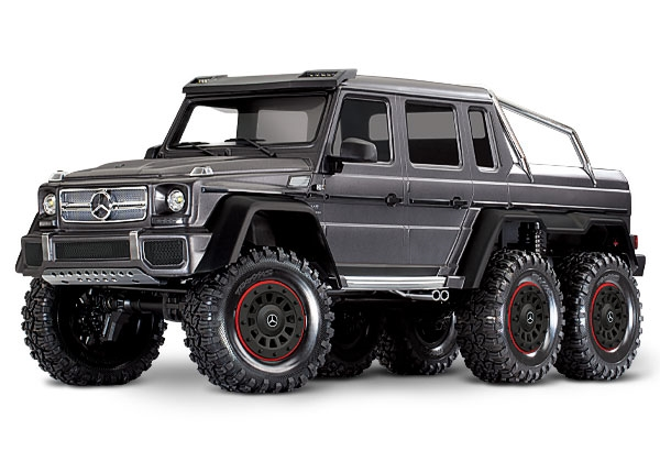 88096-4 - TRX-6 Scale and Trail Crawler with Mercedes-Benz G 63 AMG Body: 1/10 Scale 6X6 Electric Trail Truck. Ready-to-Drive with TQi Traxxas Link Enabled 2.4GHz Radio System, XL-5 HV ESC (fwd/rev), and Titan 550 motor.