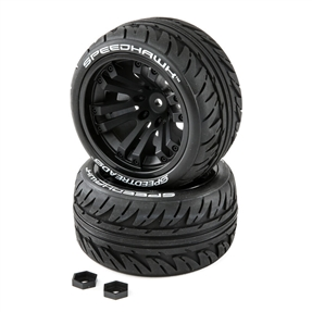 SpeedTreads Speedhawk Tires Mounted (2): 1/10 Stadium/Monster Truck