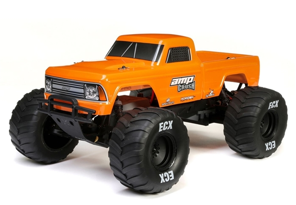 1/10 Amp Crush 2WD Monster Truck Brushed RTR, Orange (ECX03048T2)