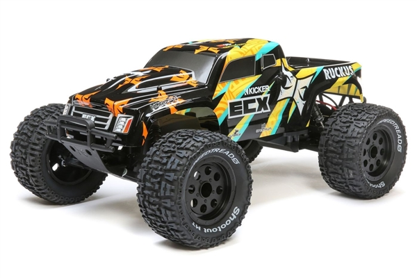 1/10 Ruckus 2WD Monster Truck Brushed RTR, Black/Yellow (ECX03431T1)