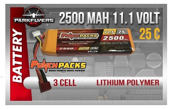 2500mah 11.1 Volt 3 Cell Lipoly Battery Punchpacks