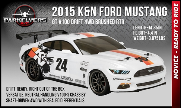 2015 K&N Ford Mustang GT V100 Drift 4WD Brushed RTR