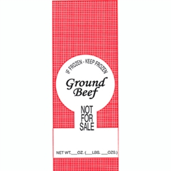 2 lb Poly Meat Bags labeled for ground beef - 100 count