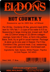 Hot Country Sausage Seasoning - 7# Bag