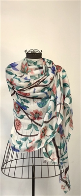 Green Floral Cashmere Shawl