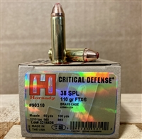 Hornady .38 Special 110 GR FTX Critical Defense 25 rounds