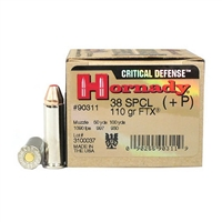 HORNADY 38SP 110 GR CRITICAL DEFENSE FTX 25 RND BOX