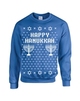 Happy Hanukkah Ugly Sweater Design CREW Sweatshirt (B109)