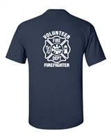 Volunteer Firefighter Maltese Cross Badge Printed on Back and Front Men's T-Shirt (298)