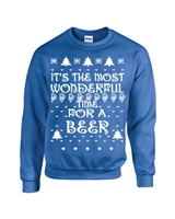 It's the Most Wonderful Time for Beer Ugly Sweater Crew Sweatshirt (B110)