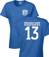 Alex Morgan US Soccer Front & Back JUNIOR FIT Ladies T-Shirt (1182)
