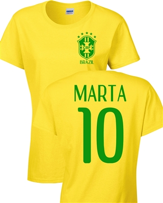 Marta Vieira Women's Soccer Front & Back JUNIOR FIT Ladies  T-Shirt (1184)