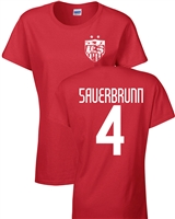 Becky Sauerbrunn US Soccer Front & Back JUNIOR FIT Ladies T- Shirt (1188)