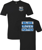 Blue Lives Matter Badge Front Block Print Back Men's T-Shirt (1222)