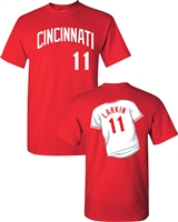 Barry Larkin Reds Hall of Fame Front & Back Men's T-Shirt (1250)
