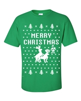 Reindeer Humping Christmas Ugly Sweater Men's T-Shirt (B115)