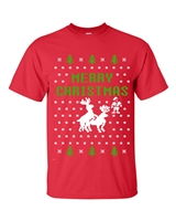 Reindeer Humping Christmas Ugly Sweater 2 COLOR Men's T-Shirt (B114)