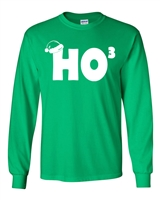 HO HO HO Cubed Santa Hat LONG SLEEVE Men's T-Shirt (652)