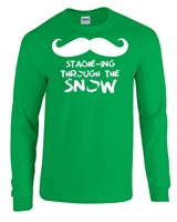 Stache-ing Through the Snow LONG SLEEVE Men's T-Shirt (1294)