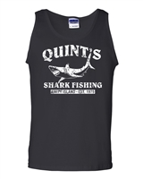 Quint's Shark Fishing - Jaws White Print Men's Tank Top (1206)