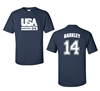 Retro USA Men's Basketball Barkley #14 Front & Back Men's T-Shirt (1460)