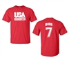 Retro USA Men's Basketball Bird # 7 Front & Back Men's T-Shirt (1461)