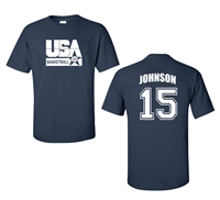 Retro USA Men's Basketball Johnson # 15 Front & Back Men's T-Shirt (1462)