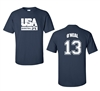 Retro USA Men's Basketball O'Neal # 13 Front & Back Men's T-Shirt (1464)