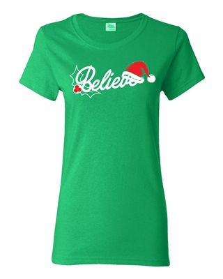 Believe With Santa Hat Junior Fit Ladies T-Shirt (1528)