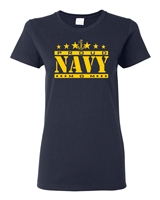 Navy Proud Mom LADIES Junior Fit T-Shirt (1543)