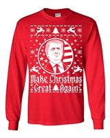 Make Christmas Great Again Donald Trump Ugly Sweater Men's LONG SLEEVE T-Shirt (1552)