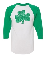 St. Patrick's Day Distressed Shamrock Raglan 3/4 Sleeve T-Shirt (1581)
