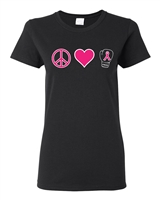 Peace Love Ribbon Breast Cancer Awareness Junior Fit Ladies T-Shirt (1685)