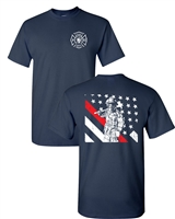 Thin Red Line Firefighter Front & Back Men's T-Shirt (1684)