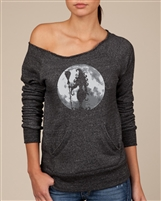 Witch In The Moon Ladies Off-Shoulder Alternative EcoFleece Sweatshirt (1679)