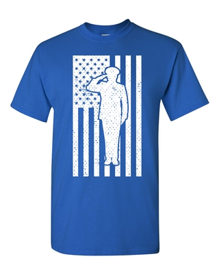 Soldier Saluting The American Flag Men's T-Shirt (1699)