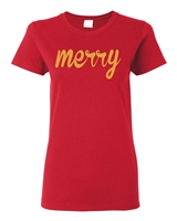 Merry with Shimmer Gold Print Christmas Junior Fit Ladies T-Shirt (1719)